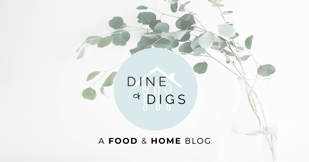 Dine & Digs Logo with Eucalyptus in Vase in Background